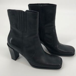 VS Black Mirabella Square Toe Leather Booties